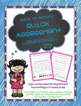 Back to School {BoY} Kindergarten Quick Assessment - No Prep
