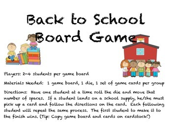 Back to School Board Game