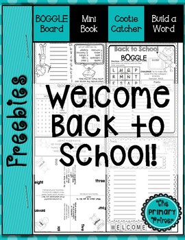 Back to School:  Boggle, Mini Book, Cootie Catcher