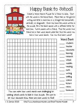 Back to School Bonanza - Word Activities