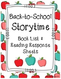 Back-to-School Book List and Reading Response Sheets