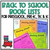 Back to School Book Lists for Preschool & Kindergarten
