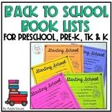 Back to School Book Lists for Preschool & Kindergarten