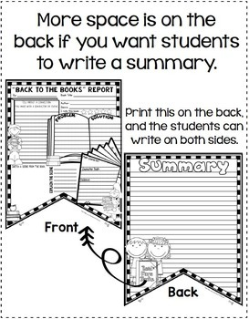 "Back to School Activity: Book Report Template: ""Back to the Books"" Theme"