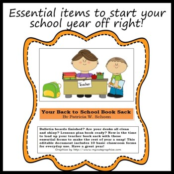 Back to School Documents - My Teacher Book Sack