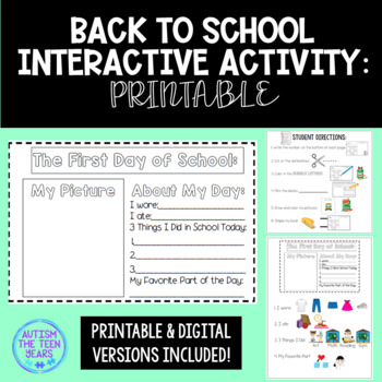 Back to School Activity Elementary or Special Ed: Printable & Distance Learning