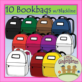 Back to School Bookbag Clip Art 10 PNG's w/Blackline Master
