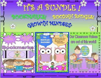 Back to School Bookmarks Booyah Badges  Growth Mindset
