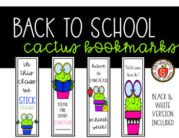 Back to School Bookmarks Cactus Theme