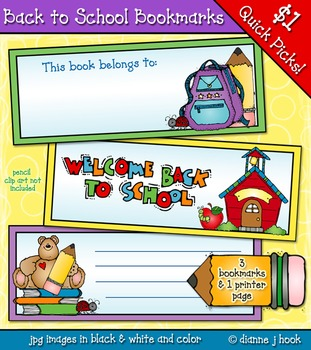 Back to School Bookmarks Clip Art Download