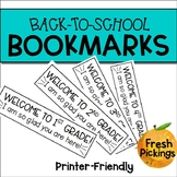 Back to School Bookmarks (Grades 1-4)