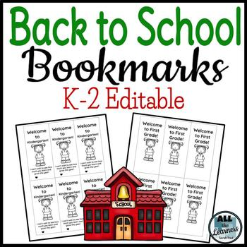 Back to School Bookmarks K-2 {Editable}