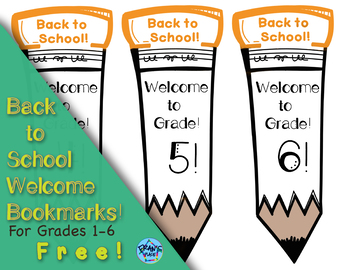 Back to School Bookmarks for Grades One to Six! Free!