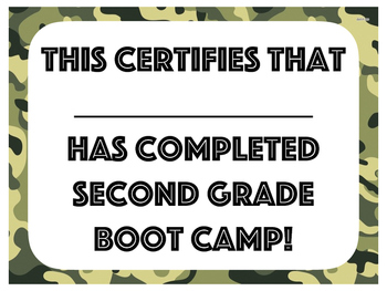 Back-to-School Boot Camp Checklist and Certificate