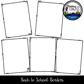 Back to School Borders Clipart Bundle