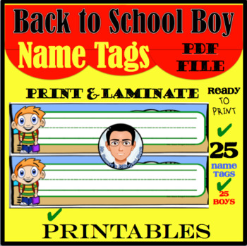 Back to School Boy Name Tags