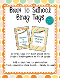 Back to School Brag Tags- Editable