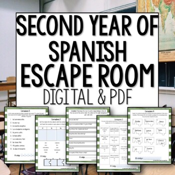 Back to School Break Out Room Beginner Level Spanish Review Activity