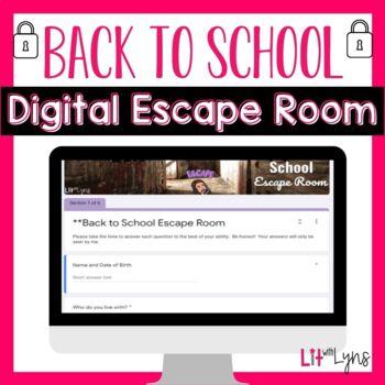 Back to School Breakout- Digital Escape Room