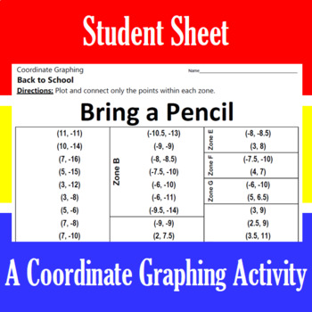Back to School - Bring a Pencil - A Coordinate Graphing Activity