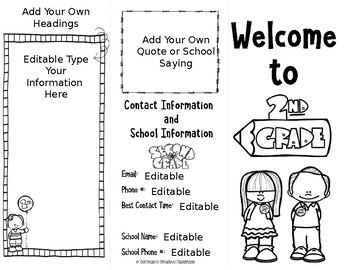 Back to School Brochure 2nd Grade Editable