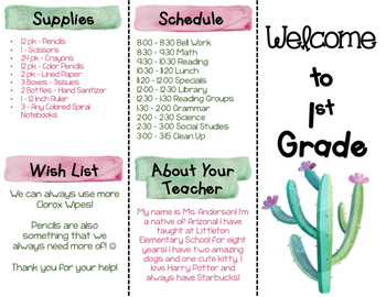 Back to School Brochure - Cactus Themed - EDITABLE