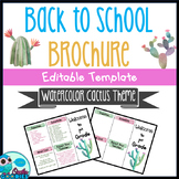 Back to School Brochure - Watercolor Cactus Themed - EDITABLE