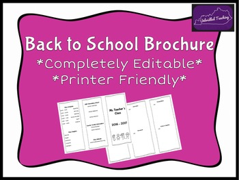 Back to School Brochure *Completely Editable & Printer Friendly*