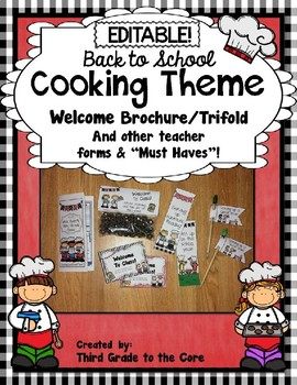 Back to School Brochure Cooking Theme - EDITABLE!