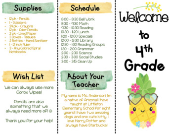 Back to School Brochure - Cute Pineapple Themed - EDITABLE