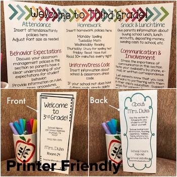 Back to School Brochure {EDITABLE Bright Chalkboard Theme}