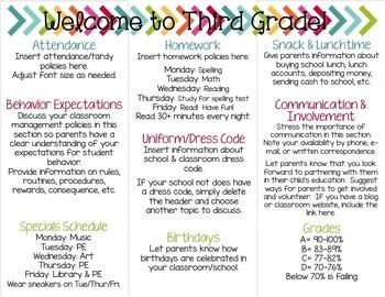 Back to School Brochure {EDITABLE Bright Chalkboard Theme}