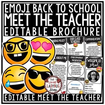 Emoji Back to School Brochure- Meet the Teacher & Open House Pamphlet