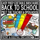 Back to School Form Brochure Meet the Teacher Template Editable Open House Forms