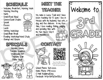 Back to School Brochure (FULLY EDITABLE) Color and B/W