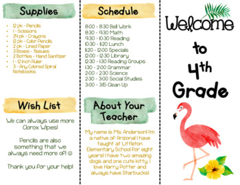 Back to School Brochure - Tropical Themed - EDITABLE