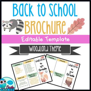 Back to School Brochure - Woodland Themed - EDITABLE