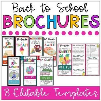 EDITABLE Back to School Brochures (8 Cute Themes)