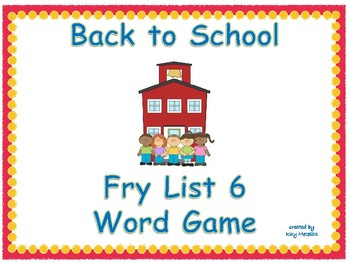 Back to School Broken Pencil Sight Word Game Fry List 6