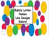 Bubbly Letter Names line designs