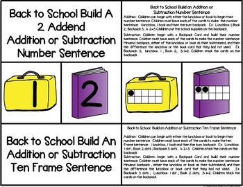 Back to School Build a 2 Addend Number Sentence With Ten Frames Freebie