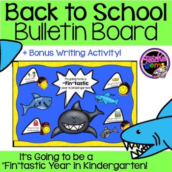 Back to School Bulletin Board Kindergarten Sharks
