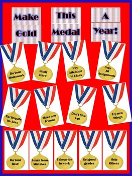 "Back to School Gold Medal Bulletin Board- ""Make This a Gold Medal Year"""
