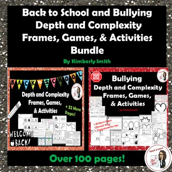 Back to School & Bullying Depth & Complexity Frames, Games, & Activities Bundle