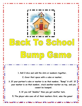 Back to School Bump Math Center Game (White Background)