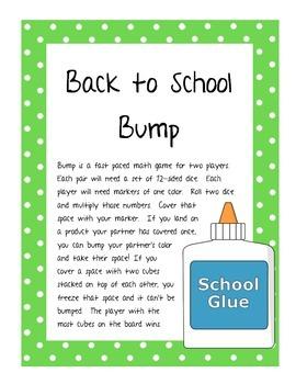Back to School Bump Multiplication