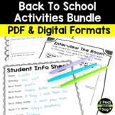 Back to School Activities Bundle | Distance Learning