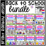 Bright, Rainbow Design Classroom Decor Bundle for Preschool, Pre-K, & Kinder