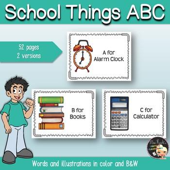 School Things Flashcards ABC