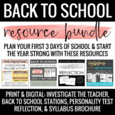 Back to School Bundle: Brochure Syllabus, Stations, & Get-To-Know-You Activities